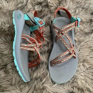 Chaco outdoor hiking sandals orange blue grey 9
